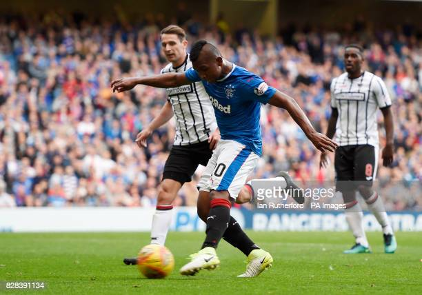 Rangers' Alfredo Morelos scores his sides third goal during the Betfred Cup Second Round match at Ibrox Stadium Glasgow