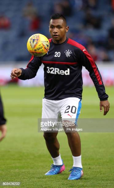 Rangers' Alfredo Morelos warms up before the UEFA Europa League Qualifying first round first leg match at Ibrox Stadium Glasgow PRESS ASSOCIATION...