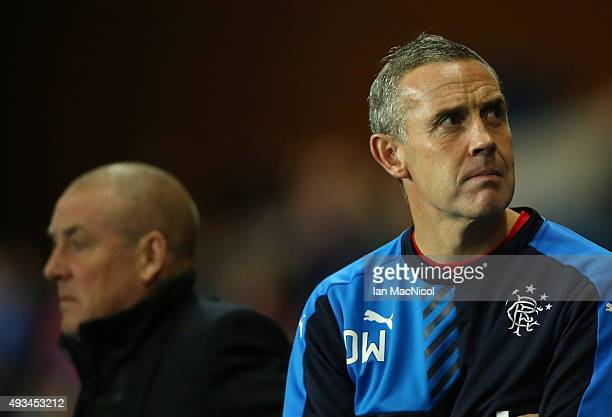 Rangers assistant manager David Weir looks on during the Petrofac Training Cup QuarterFinal match between Rangers and Livingston at Ibrox Stadium on...