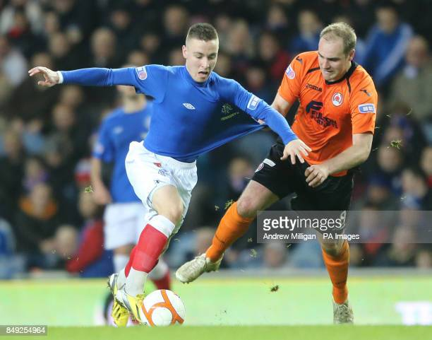 Rangers Barrie McKay and Clyde's Pat Sculion battle for the ball during the Irn Bru Scottish Division Three match at Ibrox Glasgow