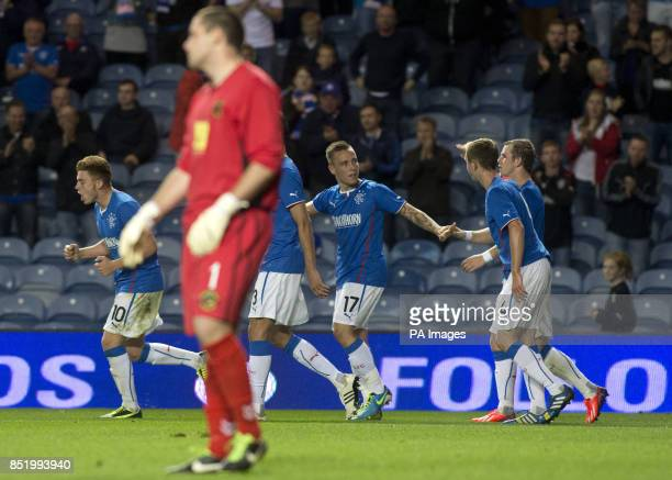 Rangers' Barrie McKay celebrates his goal with his team mates during the Ramsdens Challenge Cup Second Round match at Ibrox Glasgow
