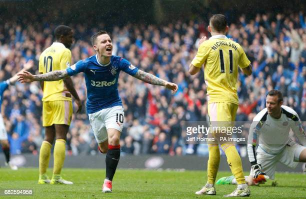 Rangers' Barrie McKay celebrates scoring his side's second goal of the game during the Ladbrokes Scottish Premiership match at Ibrox Glasgow