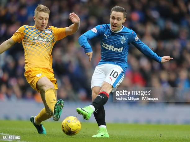 Rangers' Barrie McKay challenges Greenock Morton's Jamie Lindsay during the Scottish Cup Fifth Round match at Ibrox Glasgow