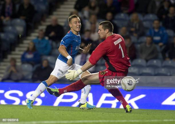Rangers' Barrie McKay scores the opening goal past Berwick Rangers goal keeper Paul Grant during the Ramsdens Challenge Cup Second Round match at...