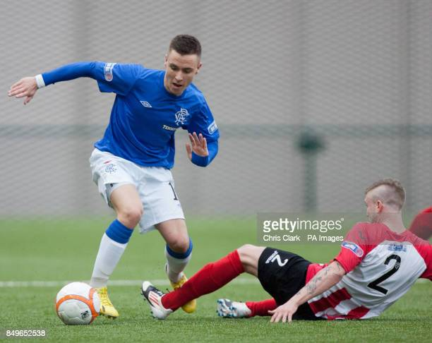 Rangers' Barrie McKay tackles Clyde's Gavin Brown during the Irn Bru Scottish Third Division match at Broadwood Stadium Clyde