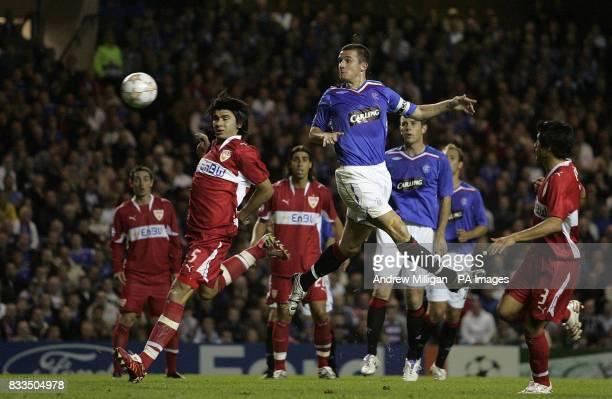 Rangers' Barry Ferguson headers towards goal during the UEFA Champions League Group E match at the Ibrox Stadium Glasgow
