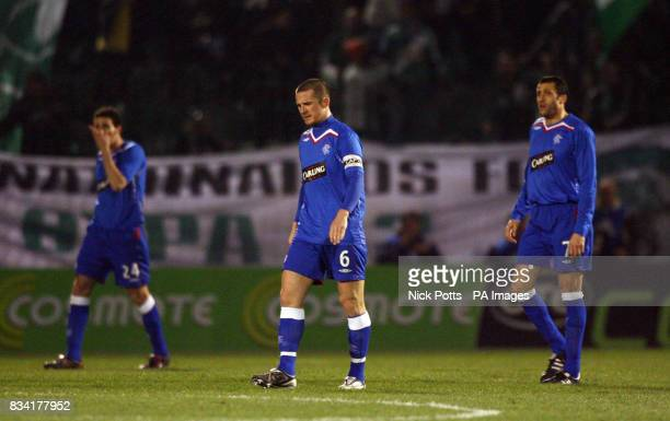 Rangers captain Barry Ferguson shows his dejection after Panathinaikos' Ioannis Goumas scored during the UEFA Cup match at Apostolos Nikolaidis...
