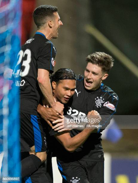 Rangers' Carlos Pena celebrates scoring his side's first goal of the game during the Ladbrokes Scottish Premiership match at McDiarmid Park Perth