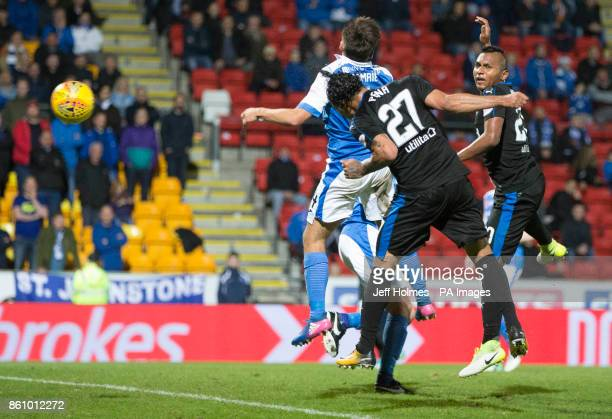 Rangers Carlos Pena scores his side's second goal of the game during the Ladbrokes Scottish Premiership match at McDiarmid Park Perth