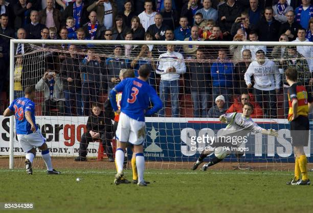 Rangers' Daniel Cousin has his penalty saved by Partick Thistle's Jonathan Tuffey during the Scottish Cup Quarter Final replay match at Firhill...