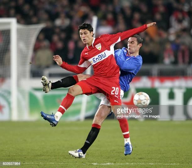 Rangers' David Weir and VfB Stuttgart's Ciprian Marica battle for the ball