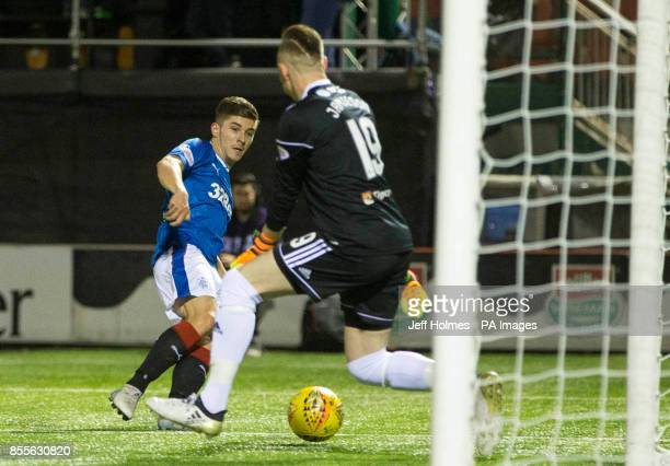 Rangers Declan John scores his side's second goal of the game during the Scottish Premiership match at New Douglas Park Hamilton