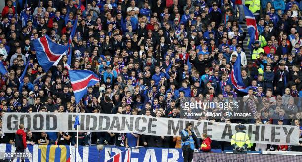 Rangers fans display a banner in the stands aimed at former club shareholder Mike Ashley