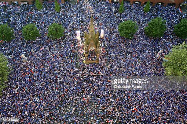 Rangers fans gather in Manchester's Albert Square for the Uefa Cup final May 14 2008 in Manchester England Thousands of fans descend on the city as...