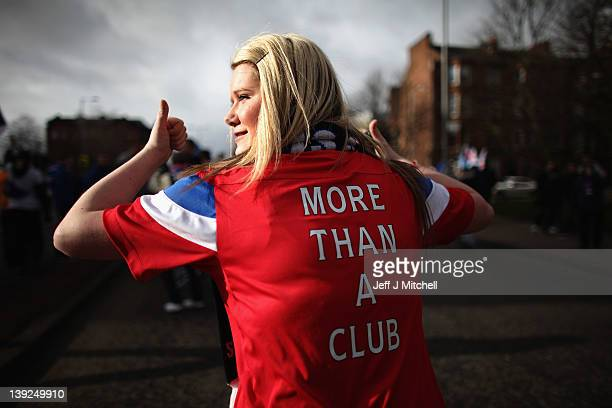 Rangers football fans show support for their club ahead of the Clydesdale Bank Scottish Premier League match between Rangers and Kilmarnock at Ibrox...