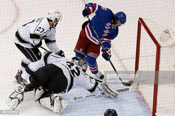 NEW YORK NY MONDAY JUNE 9 2014 Rangers forward Mats Zuccarello can't convert a point blank shot as Kings goalie Jonathan Quick stops the puck during...