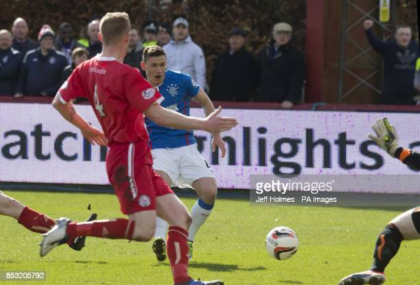 Rangers Fraser Aird scores first goal during the Scottish League One match Glebe Park Angus
