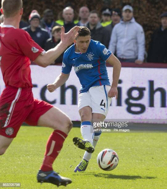 Rangers Fraser Aird scores the opening goal during the Scottish League One match Glebe Park Angus