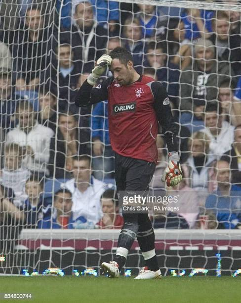 Rangers' goalkeeper Allan McGregor holds his head after his mistake lead to the opening goal for Kilmarnock during the Clydesdale Bank Scottish...