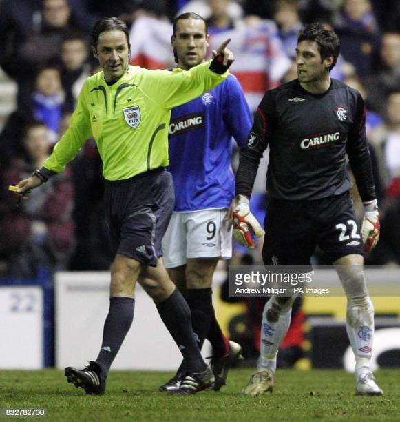 Rangers' goalkeeper Allan Mcgregor is sent off during the UEFA Cup Third Round Second Leg match at the Ibrox Stadium Glasgow