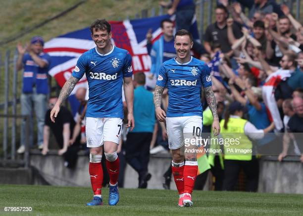 Rangers goalscorers Joe Garner and Barrie McKay during the Ladbrokes Scottish Premiership match at the Firhill Stadium Glasgow