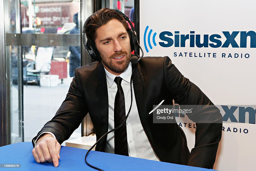 NY Rangers goaltender and reigning Vezina Trophy winner <a gi-track='captionPersonalityLinkClicked' href=/galleries/search?phrase=Henrik+Lundqvist&family=editorial&specificpeople=217958 ng-click='$event.stopPropagation()'>Henrik Lundqvist</a> visits SiriusXM's 'Mad Dog Unleashed' hosted by Chris 'Mad Dog' Russo at the NHL Powered by Reebok Store on January 22, 2013 in New York City.