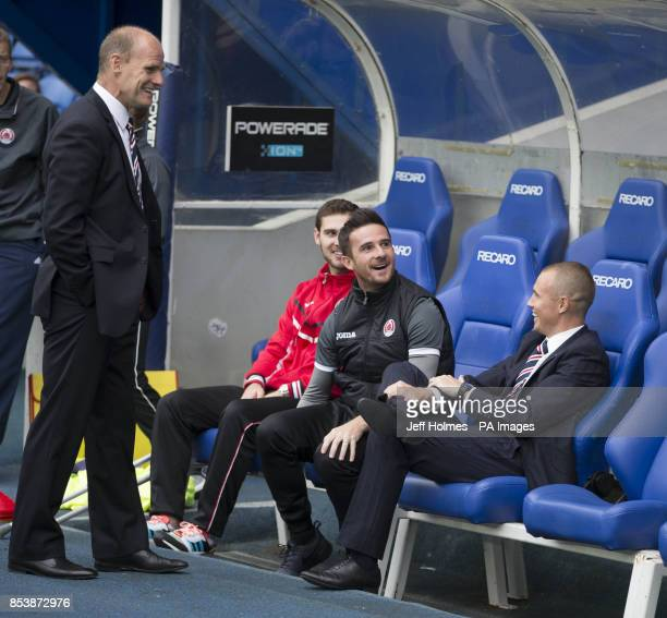 Rangers' Gordon Durie Barry Ferguson and Kenny Miller ahead of the Petrofac Training Cup Second Round match at Ibrox Stadium Glasgow