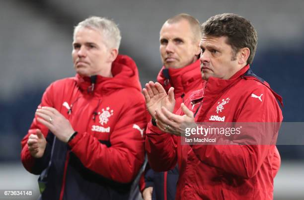 Rangers Head Coach Graeme Murty looks on during The Scottish FA Youth Cup Final between Celtic and Rangers at Hampden Park on April 26 2017 in...