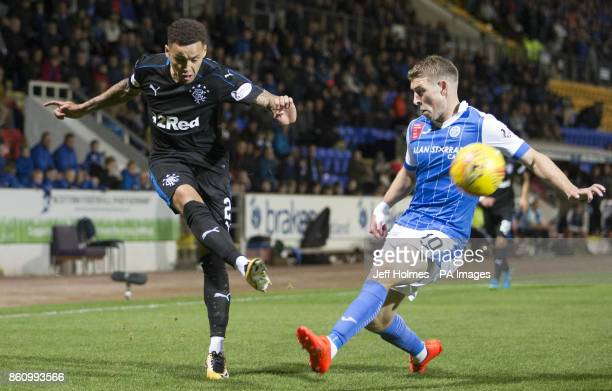 Rangers' James Tavernier and St Johnstone's David Wotherspoon battle for the ball during the Ladbrokes Scottish Premiership match at McDiarmid Park...