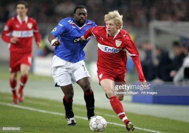 Rangers' Jean Claude Darcheville and VfB Stuttgart's Andreas Beck battle for the ball