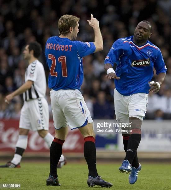 Rangers' JeanClaude Darcheville celebrates scoring against St Mirren during the Clydesdale Bank Premier League match at St Mirren Park Paisley