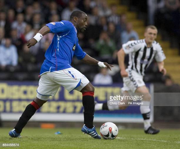Rangers' JeanClaude Darcheville lines up to shoot his sides second goal against St Mirren during the Clydesdale Bank Premier League match at St...