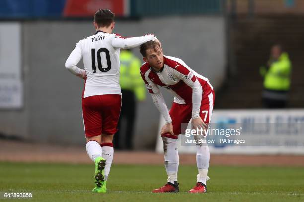 Rangers Joe Garner celebrates scoring his side's first goal of the game with teammate Barrie McKay during the Ladbrokes Scottish Premiership match at...