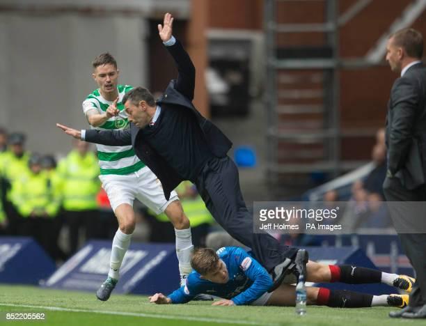Rangers Josh Windass colides with manager Pedro Caixinha during the Ladbrokes Scottish Premiership game at the Ibrox Stadium Glasgow