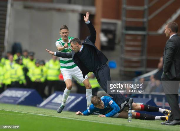 Rangers Josh Windass collides with manager Pedro Caixinha during the Ladbrokes Scottish Premiership game at the Ibrox Stadium Glasgow