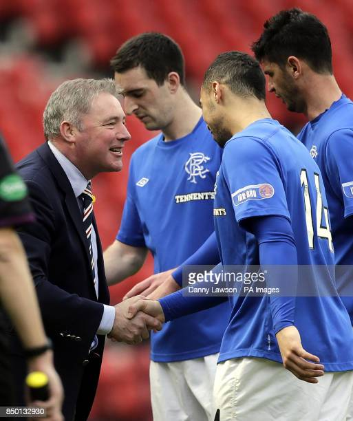 Rangers' Kane Hemmings celebrates his goal with Rangers' Manager Ally McCoist during the Irn Bru Scottish Third Division match at Hampden Park Glasgow