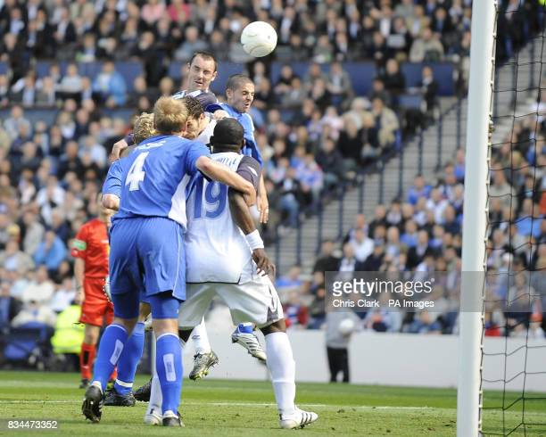 Rangers' Kris Boyd heads in the winning goal during the Scottish Cup Final at Hampden Park Glasgow