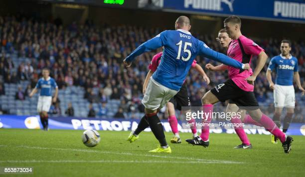 Rangers Kris Boyd scores his sides third goal during the Petrofac Training Cup Second Round match at Ibrox Stadium Glasgow