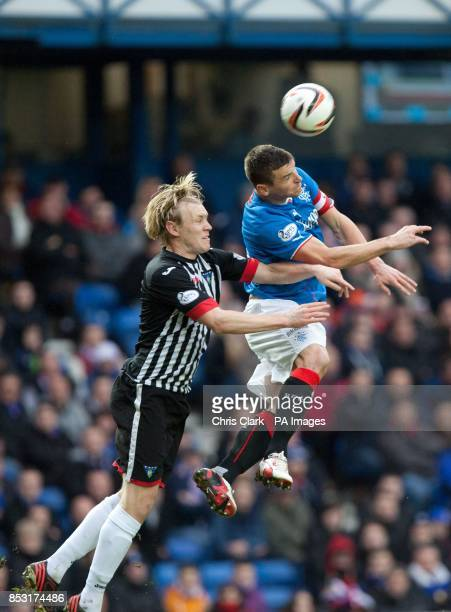 Rangers' Lee McCulloch leaps for the ball against Dunfermline's Jonathan Page during the Scottish Premier League match at Ibrox Stadium Glasgow