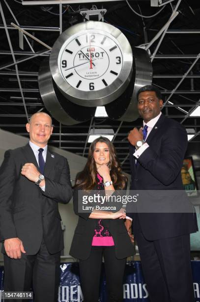 Rangers Legend Adam Graves NASCAR Star Danica Patrick and Knicks Great Larry Johnson join Tissot Swiss Watches To Unveil The Brand's New Lobby Clocks...