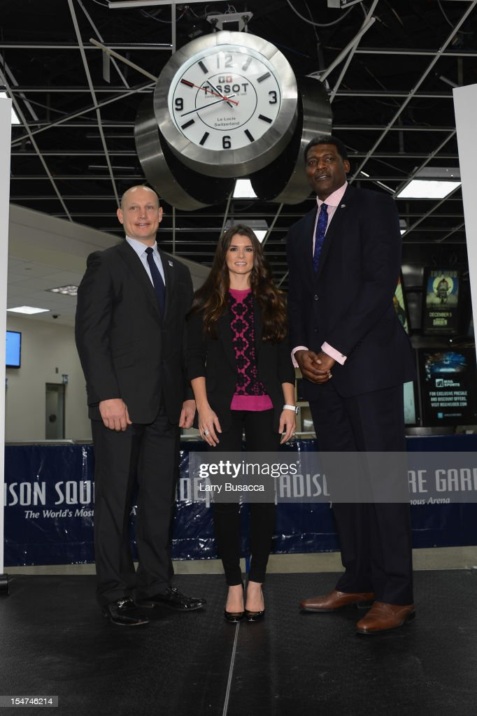 Rangers Legend Adam Graves, NASCAR Star Danica Patrick, and Knicks Great Larry Johnson join Tissot Swiss Watches To Unveil The Brand's New Lobby Clocks on October 25, 2012 in New York City.