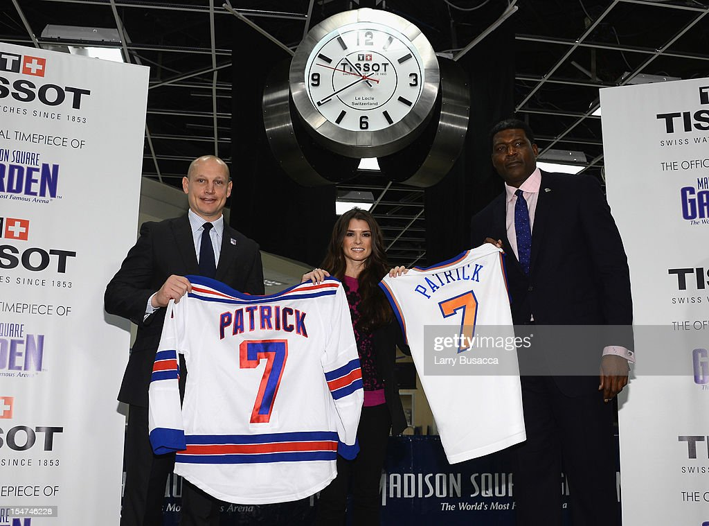 Rangers Legend Adam Graves, NASCAR Star Danica Patrick and Knicks Great Larry Johnson join Tissot Swiss Watches To Unveil The Brand's New Lobby Clocks on October 25, 2012 in New York City.
