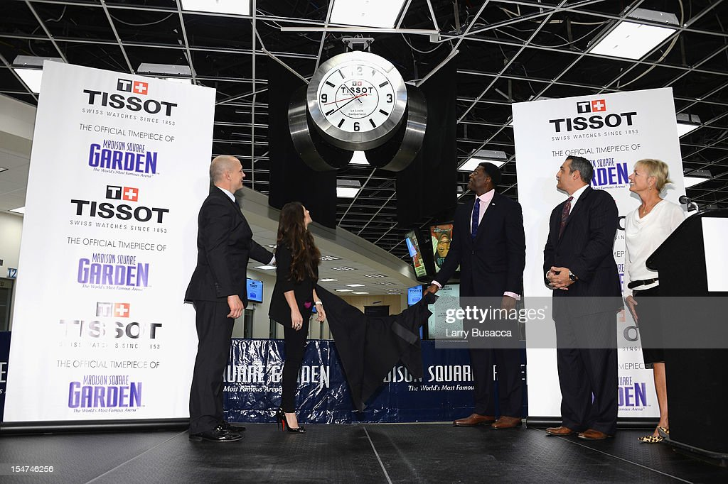 Rangers Legend Adam Graves, NASCAR Star Danica Patrick, Knicks Great Larry with Sharon Buntain and Greg Economou join Tissot Swiss Watches To Unveil The Brand's New Lobby Clocks on October 25, 2012 in New York City.