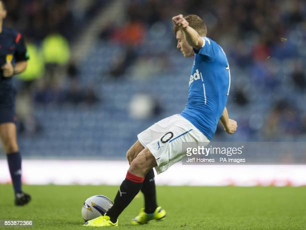 Rangers' Lewis Macleod scores his teams fifth goal during the Petrofac Training Cup Second Round match at Ibrox Stadium Glasgow