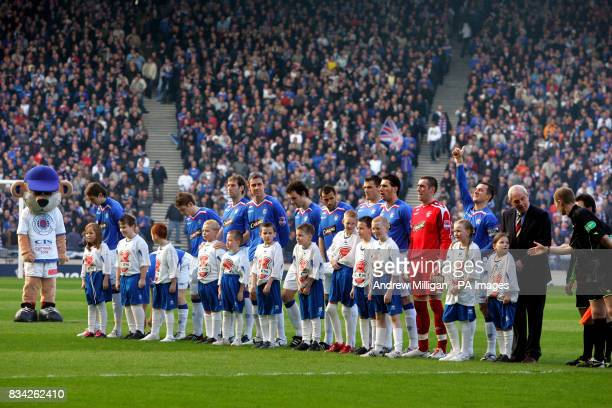 Rangers line up before the game