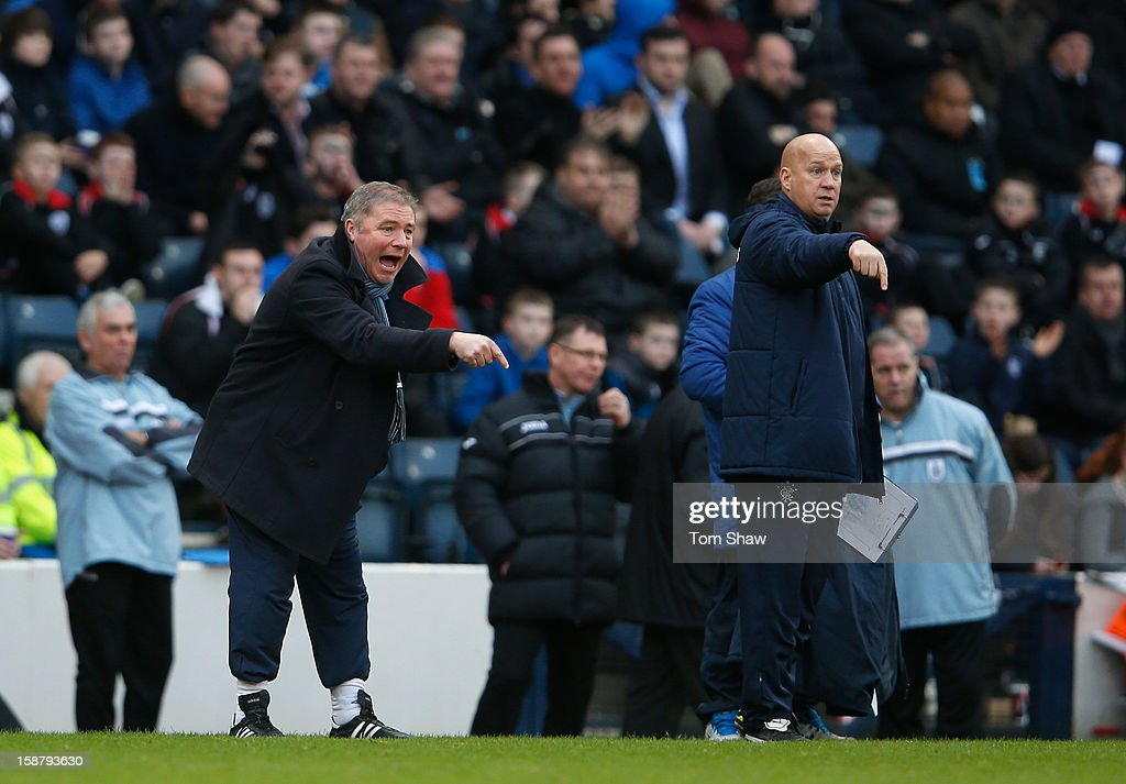 Rangers Manager <a gi-track='captionPersonalityLinkClicked' href=/galleries/search?phrase=Ally+McCoist&family=editorial&specificpeople=642917 ng-click='$event.stopPropagation()'>Ally McCoist</a> looks on during the IRN-BRU Scottish Third Division match between Queens Park and Rangers at Hampden Park on December 29, 2012 in Glasgow, Scotland.