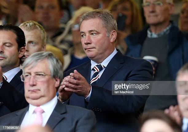 Rangers manager Ally McCoist looks on from the stand during the pre season friendly match between Rangers and Newcastle United at Ibrox Stadium on...