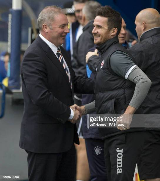 Rangers manager Ally McCoist with Clyde manager Barry Ferguson during the Petrofac Training Cup Second Round match at Ibrox Stadium Glasgow