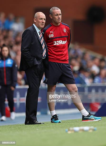 Rangers manager Mark Warburton and Assistant manager David Weir during the Ladbrokes Scottish Premiership match between Rangers and Hamilton...