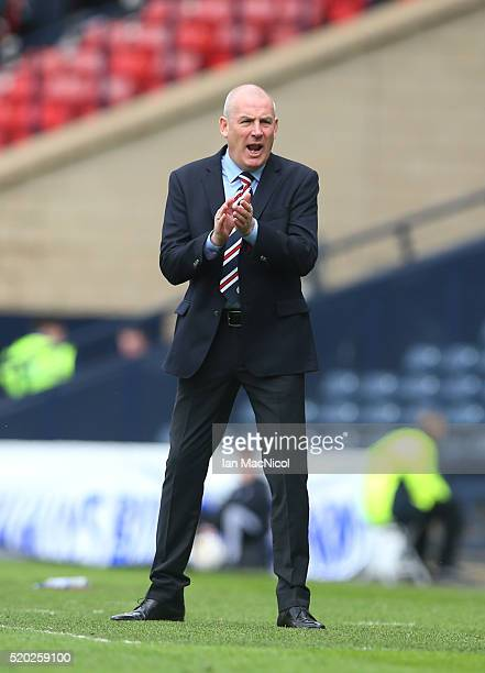 Rangers manager Mark Warburton reacts during the Petrofac Training Cup Final between Rangers and Peterhead at Hampden Park on April 10 2016 in...